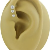 A-Set of 3 Clear Triple Forward Helix Earrings-18g 1/4 inch (6mm) Short Labret Studs-Small Base Steel Cartilage Earrings