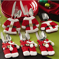 6 Pcs Christmas Xmas New Year Santa Silverware Holders Christmas Decorations Pockets Dinner Decor 3 Clothes and 3 Pants 171122