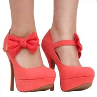Women`s Qupid Coral Mary Jane Bow High Heel Stiletto Pump (Onyx74): Shoes from BNM CORP