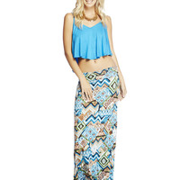 Abstract Printed Maxi Skirt | Wet Seal