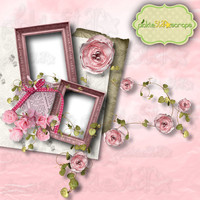Lucy Digital Scrapbook Flower QUICKPAGE Layout Pre-Made Quickpages Digital Layout Garden Quickpage Pre-Made Layouts INSTANT DOWNLOAD