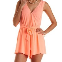 Sash-Belted Sleeveless Wrap Romper by Charlotte Russe