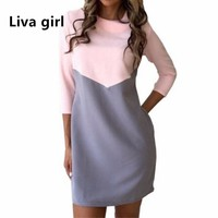 Liva Girl Patchwork Summer Autumn Bandage Dress Women Tunic Casual Office Bodycon Boho Dress Runway Hippie Chic Clothing XSL10
