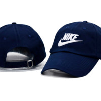 The New NIKE Embroidery Navy Blue Cotton Sport Baseball Cap Hat
