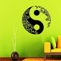 Wall Decals Mandala Yin Yang Decal Vinyl Sticker Home Decor Chinese Geometric Pattern Yoga Namaste Flower Om Yoga Studio Window Decals Bedroom Dorm Living Room Art Murals Chu1440