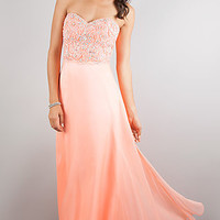 Lace Up Strapless Prom Gown