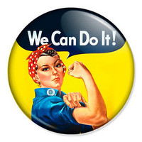 "We Can Do It 25mm 1"" Pin Badge Button Rosie Riveter Vintage Feminist Retro WW2"