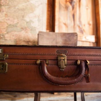 Crouch Fitzgerald Leather Suitcase