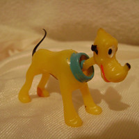 Vintage 1940s Walt Disney Pluto Minature Plastic Bobble Head Nodder Collectable Figure Marx Toys Made in Hong Kong Toy