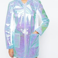 The Ragged Priest Holographic Hooded Lightweight Anorak Festival Parka