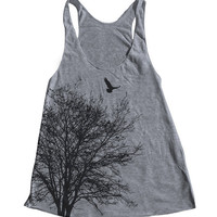 Tree Women Tank American Apparel Triblend Racerback Tank Top Hand Screen Printed 5 Color Available