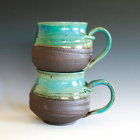 Pair of Large Coffee Mugs handmade ceramic cups by ocpottery