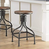 Vintage Metal Frame Swivel Counter Bar Stool with Round Seat, Brown and Black By Casagear Home