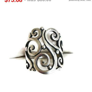 SALE James Avery Signed Sterling Silver Abstract Ring in Size 4.75 Vintage