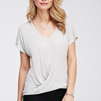 Twist-Front Marled Top