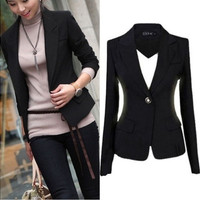 Fashion Womens Coat Slim Office Ladies Blazer Leisure New One Button Jacket Suit [9222189892]
