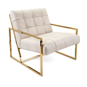 Contemporary Gold and Ivory White Leather Tufted Accent Chair