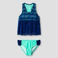 Girls' Malibu Dream Girl Crochet 2pc Tankini - Navy