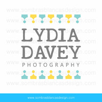 OOAK Premade Logo Design - Blue and Yellow Garland - Perfect for a newborn photographer or an event planning business