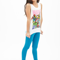 FOREVER 21 GIRLS Marvel Graphic Muscle Tank (Kids) White/Pink