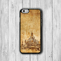 Vintage Temple Drawing iPhone 6 Cover, Lovely Old Parchment Ink iPhone 6 Plus, iPhone 5S, iPhone 4S Hard Case, Rubber Deco Classic Gift