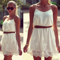 2015 new Summer Dress Seconds Kill New Summer Pure Color Flower Women Casual Lace Spaghetti Strap Dress Vestidos D02-in Dresses from Apparel & Accessories on Aliexpress.com | Alibaba Group