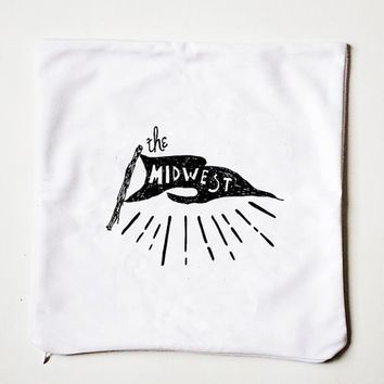 The Midwest Flag Logo Camp & Cabin Illustrated White Handlettered Typography Throw Pillow Cover Retro Midwest Decor Text Pillow White Decor