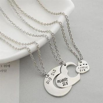 Best Friends Necklace For 3 Big Sister Sis Middle Sister Sis Little Sister Heart Charm Pendant Necklace Family Jewelry