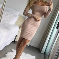 new sexy autumn women bandage bodycon mini dress ladies long sleeve off shoulder backless hollow solid pencil mini dress