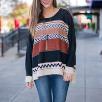 Take It All In Sweater, Rust-Black