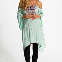 Mint Green Neon Printed Accent Linen Open Shoulder Maternity Tunic