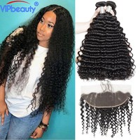 Vip beauty Malaysian deep curly pre plucked 13x4 lace frontal closure with bundles remy hair human hair bundles with closure