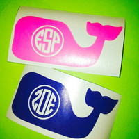 Whale monogram whale initials Car Decal Monogram Decal Monogram Vinyl Vinyl Decal Monogram Gift Monogram sticker Car sticker Car Initials