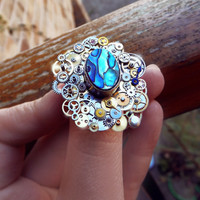 Abalone steampunk ring, watch gear ring, art ring, blue abalone, steampunk ring, statement ring, cocktail ring, magic ring, abalone shell