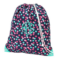 Monogrammed Gym Bag with Drawstring Personalized Backpack School Bookbag Gym Bag Cinch Sack Navy Polka Dot
