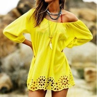 Yellow Plain Boat Neck Elbow Sleeve Sweet Mini Dress