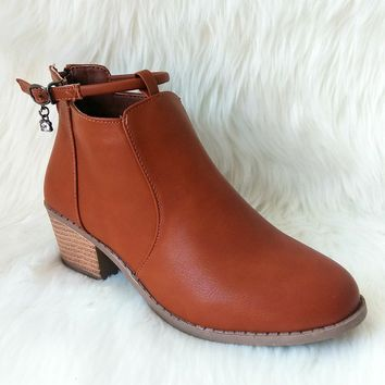 Women's Tan Short Boot with Charm Detail