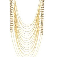 Gold Rhinestone & Ball Chain Statement Necklace by Charlotte Russe