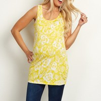 Yellow-White-Rose-Floral-Printed-Maternity-Tank-Top