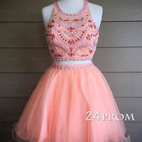 Custom Made Pink 2 Pieces Beaded Short Prom Dress, Homecoming Dress