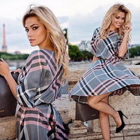 New Fashion Women Plaid Print Dress Casual O-neck Half Sleeve Tunic Vintage Dresses Plus Size Cheap Clothes China