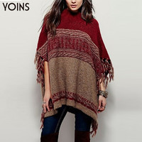 YOINS 2016 New Women European Fashion Loose Poncho Sweater Casual Batwing Half Sleeves Tassels Trim Knitted Pullover Sweater