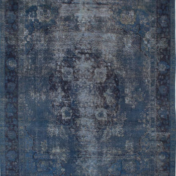 "9'6"" x 12'9"" Blue Vintage Persian Overdyed Rug"