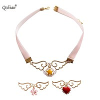 Gothic Fake Collar Short Necklace Angel Wings Red Love Pink Flower Pentagram Star Pendant Beautiful Gift for Kids