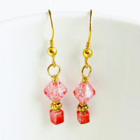 Pink Coral Crackle Earrings - Coral Colored Jewelry - Gold and Coral Earrings - Lightweight Earrings - Summer Jewelry - Pink Beaded Earrings