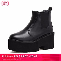 punk boots  women ladies platform boots High Heel winter autumn shoes motorcycle Ankle Boots waterproof snow boots women YMA414