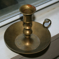 Scrooge's Chamberstick Vintage Bronze or Brass Candle Holder with Drip Pan and Finger Loop or Ring