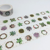 Succulent plant fat plant tape 3M Green plant potted plant washi tape plant diary garden deco sticker gardening planner tape scrapbook gift
