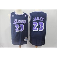 Los Angeles Lakers #23 Lebron James Navy Blue Classic Mitchell & Ness Hardwood Basketball Jerseys - Best Deal Online