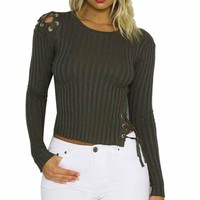 Green Lace Up Women's Top